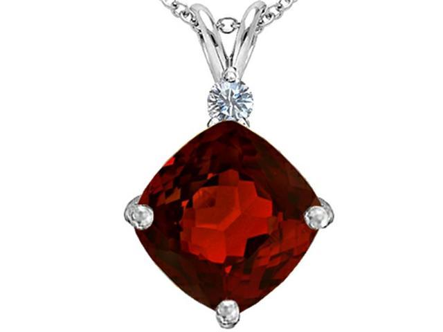 Star K Large 12mm Cushion Cut Simulated Garnet Pendant in Sterling Silver
