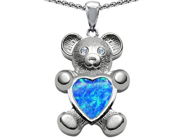 Star K Love Bear Holding Birth Month of October Heart Shape Blue Simulated Opal in Sterling Silver