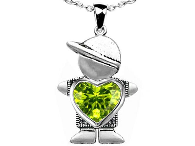 Star K Boy Holding 8mm Mother Heart August Birth Month Pendant with Simulated Peridot in Sterling Silver