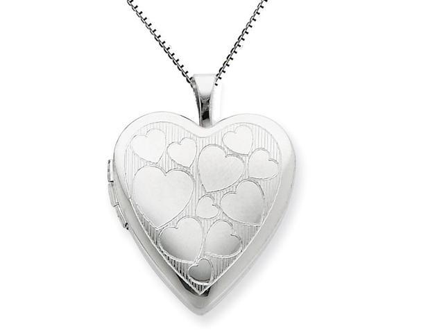 Sterling Silver 20mm with Floating Hearts Heart Locket Chain Included