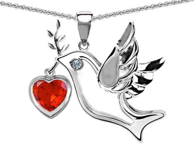 Star K Peace Love Dove Pendant with Heart Shape 7mm Simulated Orange Mexican Fire Opal in Sterling Silver