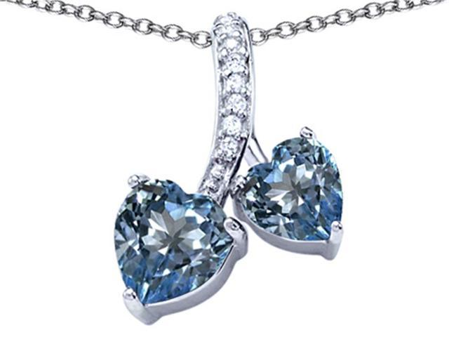 Star K 8mm and 7mm Heart Shape Simulated Aquamarine Double Hearts Pendant in Sterling Silver