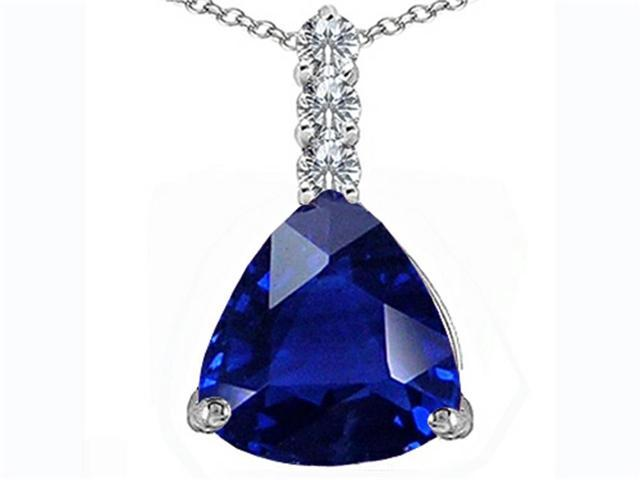Star K Large 12mm Trillion Cut Created Blue Sapphire Pendant in Sterling Silver