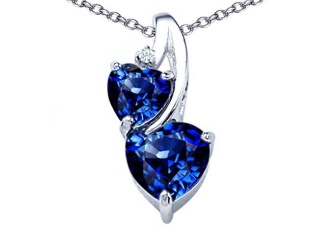 Star K 8mm Heart Shape Created Sapphire Double Hearts Pendant in Sterling Silver