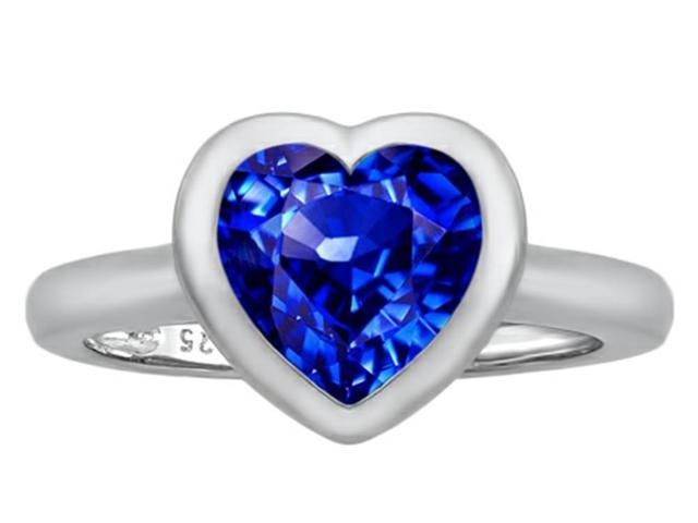 Star K 8mm Heart Shape Solitaire Ring with Created Sapphire in Sterling Silver Size 6