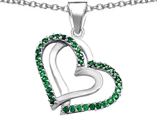 Star K Round Simulated Emerald Double Hearts Pendant in Sterling Silver