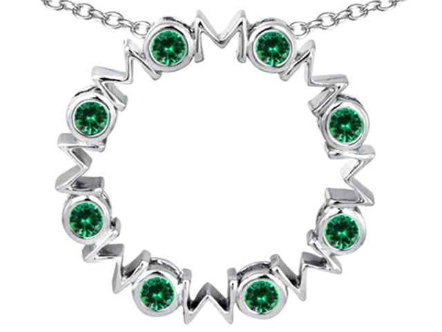 Star K Large MOM Circle Mothers pendant with Round Simulated Emerald in Sterling Silver