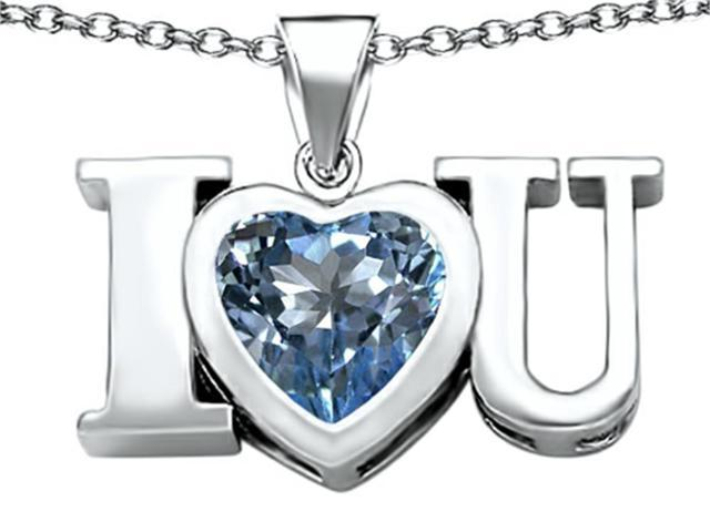 Star K 8mm Heart Shape Simulated Aquamarine I Love You Heart Pendant in Sterling Silver