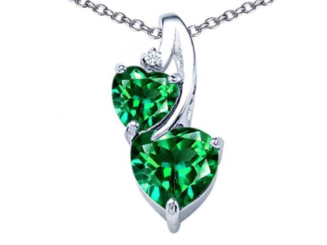 Star K 8mm Heart Shape Simulated Emerald Double Hearts Pendant Necklace in Sterling Silver