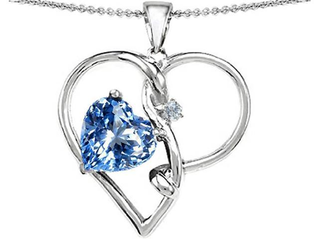 Star K Large 10mm Heart Shaped Simulated Aquamarine Knotted Heart Pendant in Sterling Silver