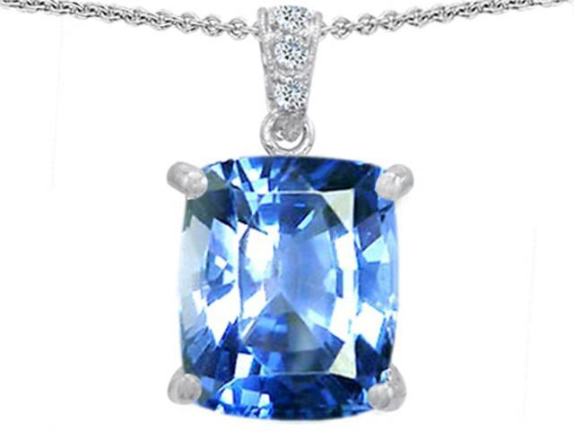 Star K Large 12x10 Cushion Cut Simulated Aquamarine Designer Pendant in Sterling Silver