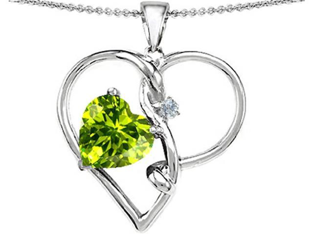 Star K Large 10mm Heart Shaped Simulated Peridot Knotted Heart Pendant in Sterling Silver