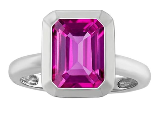 Star K 9x7mm Emerald Cut Octagon Solitaire Ring with Created Pink Sapphire in Sterling Silver Size 7