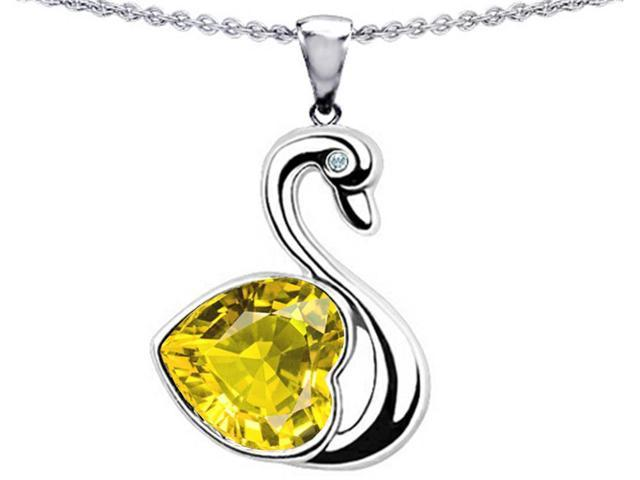 Star K Love Swan Pendant Necklace with Heart Shape 8mm Simulated Citrine in Sterling Silver