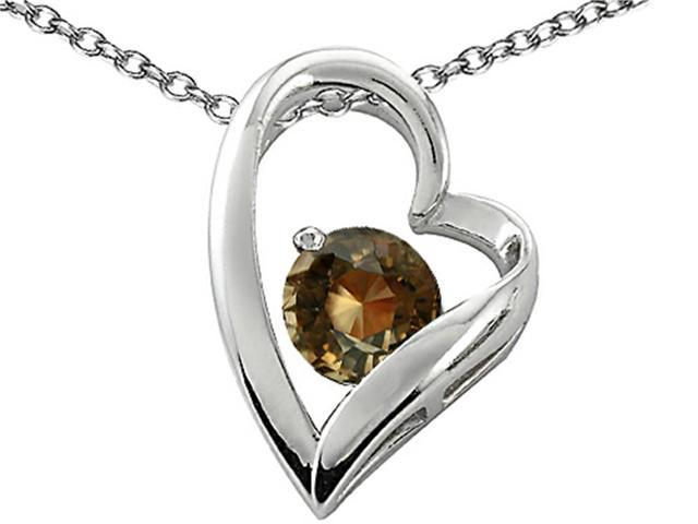 Star K Genuine 7mm Round Smoky Quartz Heart Pendant in Sterling Silver