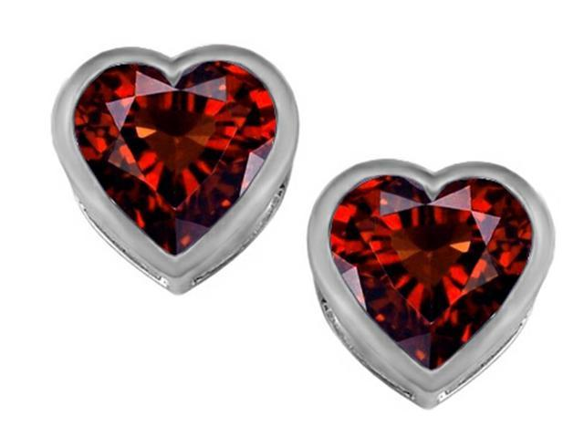 Star K 7mm Heart Shape Simulated Garnet Heart Earrings Studs in Sterling Silver
