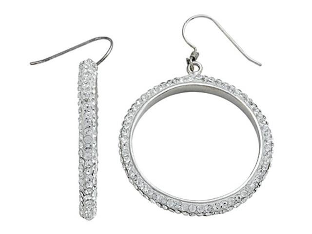 Round White Crystal Hoop Earrings in Sterling Silver