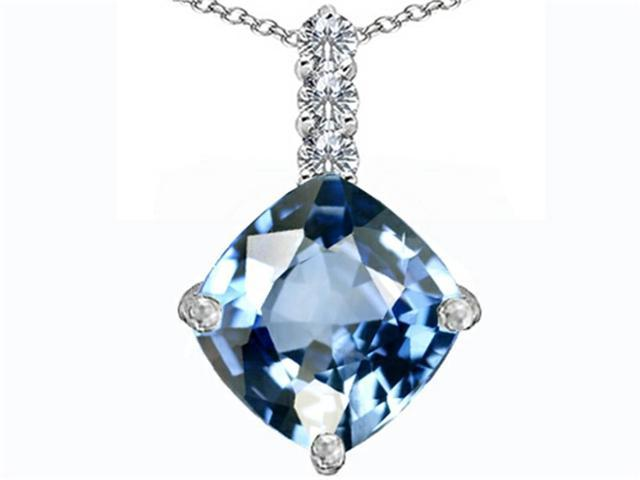 Star K Large 12mm Cushion Cut Simulated Aquamarine Pendant Necklace in Sterling Silver