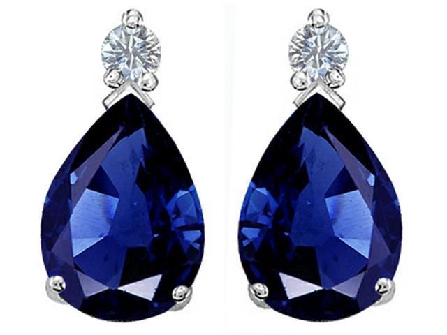 Star K Pear Shape 8x6 mm Created Blue Sapphire Earrings Studs in Sterling Silver