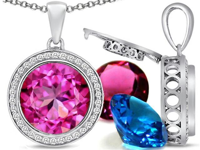 Switch-It Gems Round 12mm Simulated Pink Tourmaline Pendant Necklace with 12 Interchangeable Simulated Birth Months