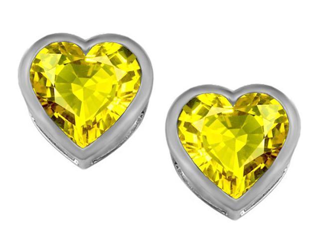Star K 7mm Heart Shape Simulated Citrine Heart Earrings Studs in Sterling Silver
