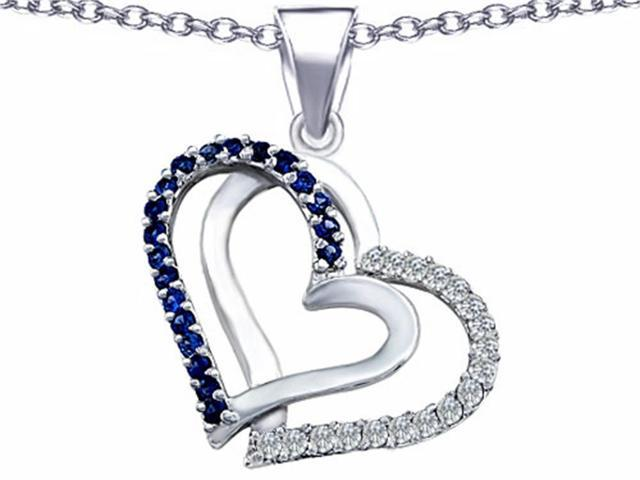 Star K Round Created Sapphire Double Hearts Pendant in Sterling Silver