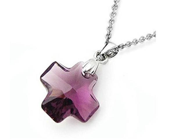 Sterling Silver Purple Color Crystal Cross Pendant Necklace made with Swarovski Elements on 18 Inch Chain