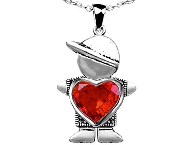 Star K Boy Holding 8mm Mother Heart October Birth Month Pendant with Simulated Mexican Fire Opal in Sterling Silver