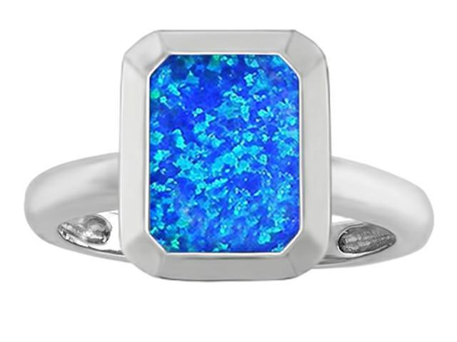 Star K 9x7mm Emerald Cut Octagon Solitaire Ring with Simulated Blue Opal in Sterling Silver Size 7