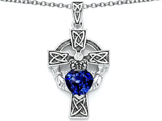Star K Claddagh Cross Pendant Necklace with 7mm Heart Shape Created Sapphire in Sterling Silver