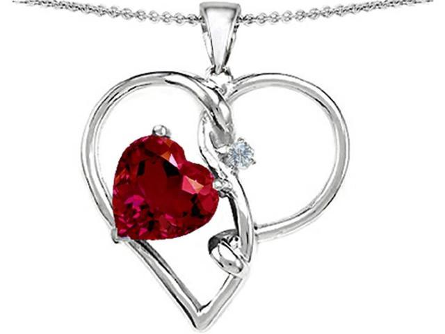 Star K Large 10mm Heart Shaped Created Ruby Knotted Heart Pendant Necklace in Sterling Silver