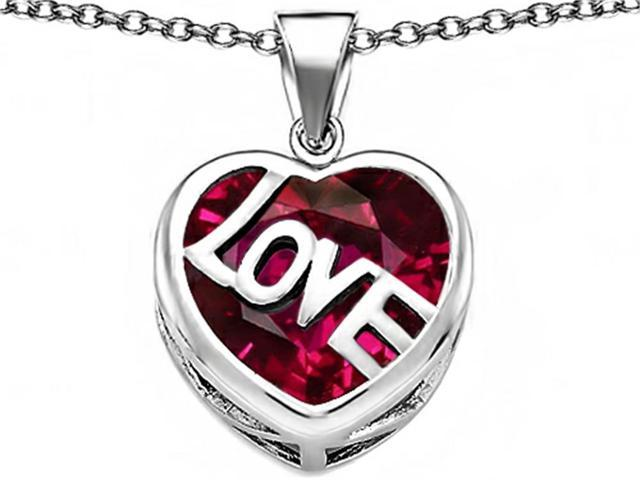 Star K Large Love Heart Pendant Necklace with 15mm Heart Shape Created Ruby in Sterling Silver