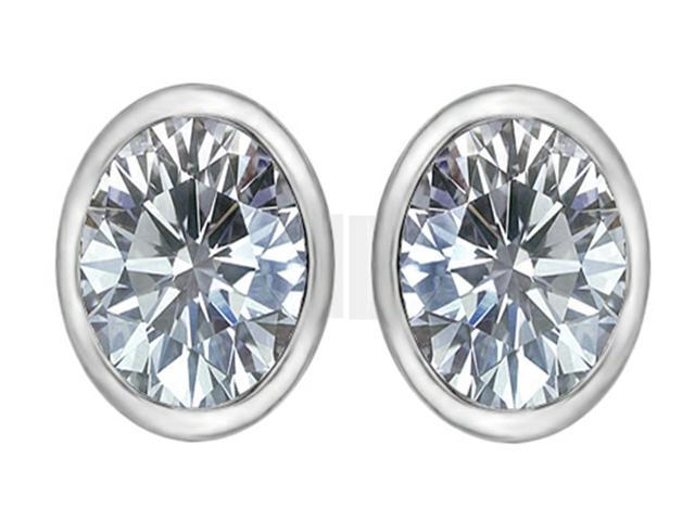 Star K 8x6mm Oval Genuine White Topaz Earrings Studs in Sterling Silver