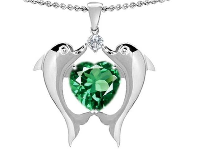 Star K Kissing Love Dolphins Pendant with 8mm Heart Shape Simulated Emerald in Sterling Silver