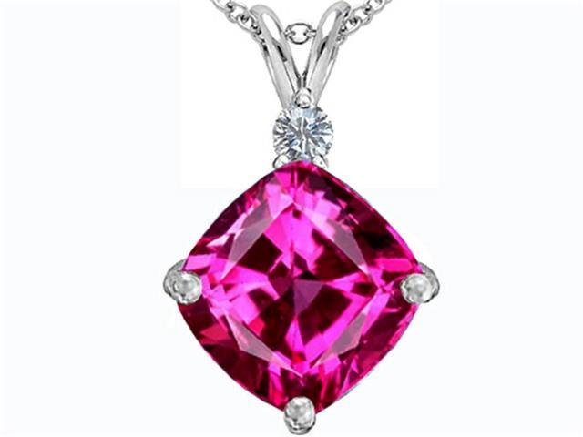 Star K Large 12mm Cushion Cut Created Pink Sapphire Pendant in Sterling Silver