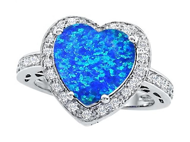 Star K Large 10mm Heart Shape Simulated Blue Opal Wedding Ring in Sterling Silver Size 6