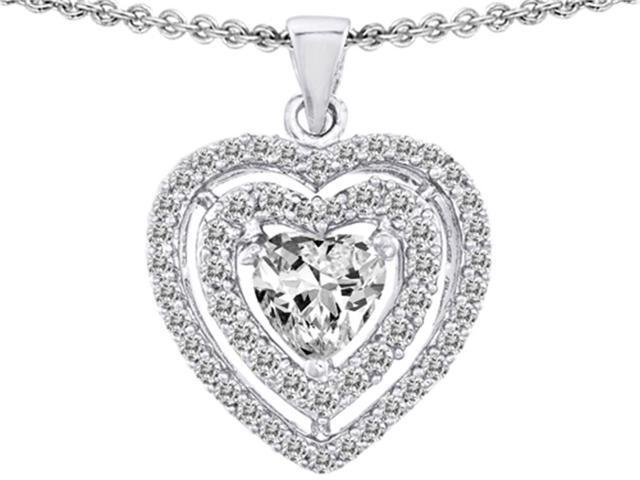 Star K Heart Shape Cubic Zirconia Pendant Necklace in Sterling Silver
