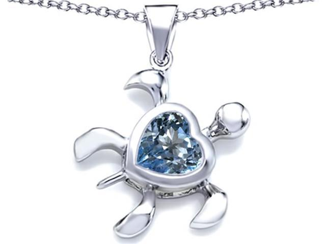 Star K Large 10mm Heart Shape Simulated Aquamarine Sea Turtle Pendant Necklace in Sterling Silver