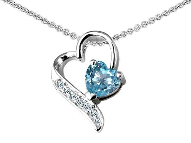 Star K 7mm Heart Shape Simulated Aquamarine Heart Pendant in Sterling Silver