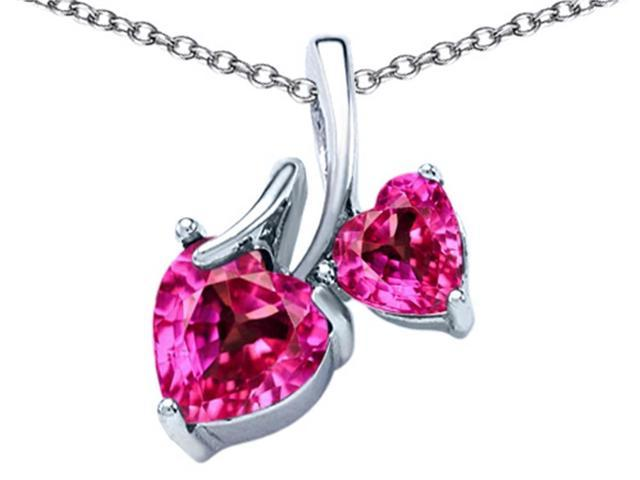Star K 8mm and 6mm Heart Shape Created Pink Sapphire Double Hearts Pendant Necklace in Sterling Silver