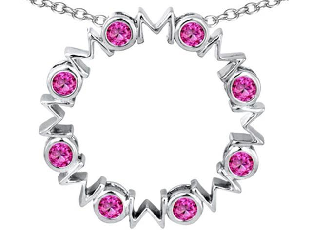 Star K Large MOM Circle Mothers pendant with Round Created Pink Sapphire in Sterling Silver