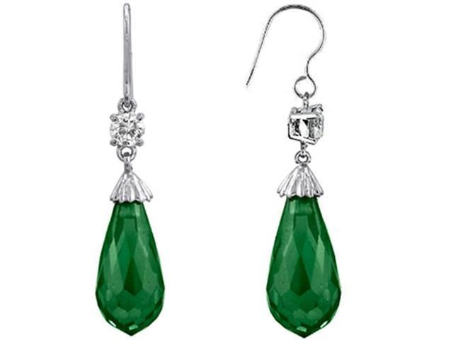 Star K Briolette Drop Cut Simulated Emerald Hanging Hook Chandelier Earrings in Sterling Silver