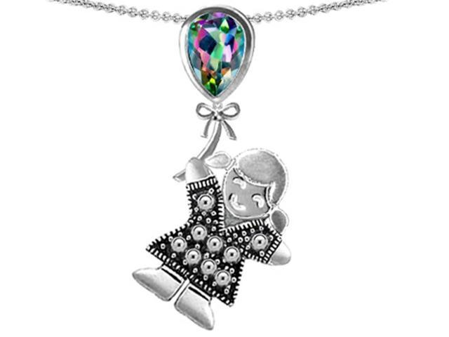 Star K Girl Holding a Balloon Mother Birth Month Pear Shape Rainbow Mystic Topaz Pendant in Sterling Silver