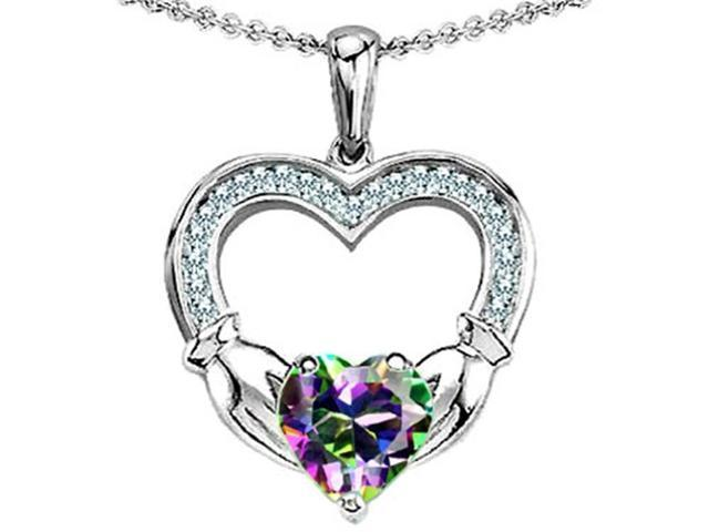 Celtic Love by Kelly Hands Holding 8mm Heart 1inch Claddagh Pendant with Mystic Topaz in Sterling Silver