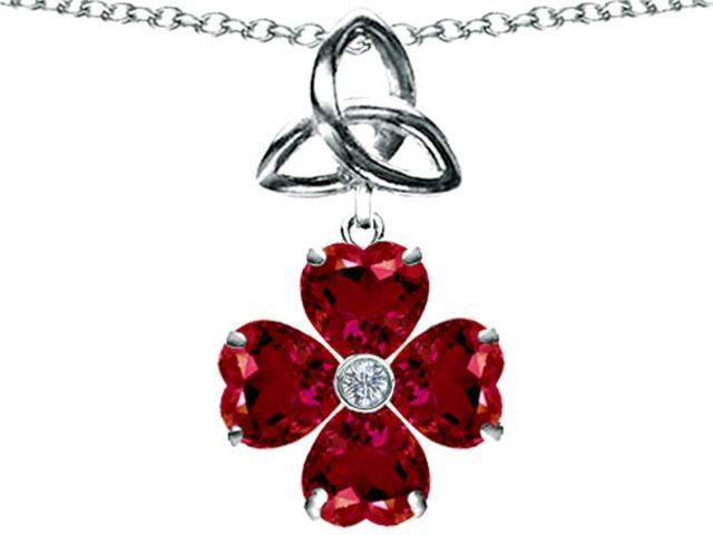 Lucky Shamrock with Celtic Knot, Made with Heart 6mm Created Ruby Celtic Love by Kelly in Sterling Silver