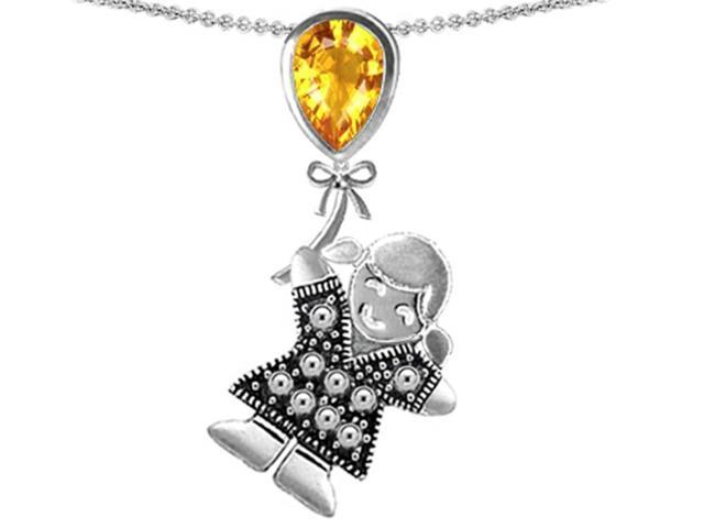 Star K Girl Holding a Balloon Mother November Birth Month Pear Shape Simulated Citrine Pendant in Sterling Silver