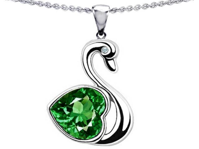 Star K Large Love Swan Pendant with 8mm Simulated Emerald. in Sterling Silver