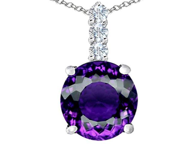 Star K Large 12mm Round Simulated Amethyst Pendant Necklace in Sterling Silver