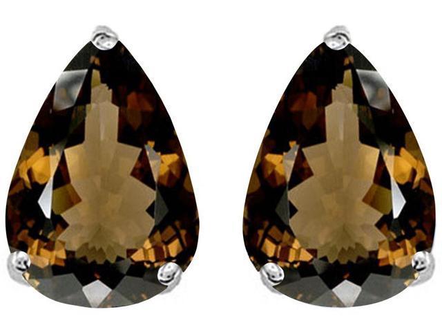 Star K Pear Shape 9x7mm Genuine Smoky Quartz Earrings Studs in Sterling Silver