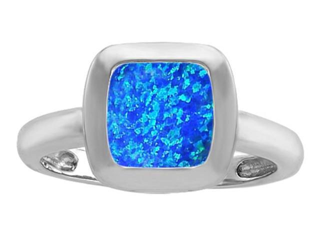 Star K 8mm Cushion Cut Solitaire Ring with Simulated Blue Opal in Sterling Silver Size 8